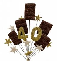 Chocoholic 40th birthday cake topper decoration - free postage
